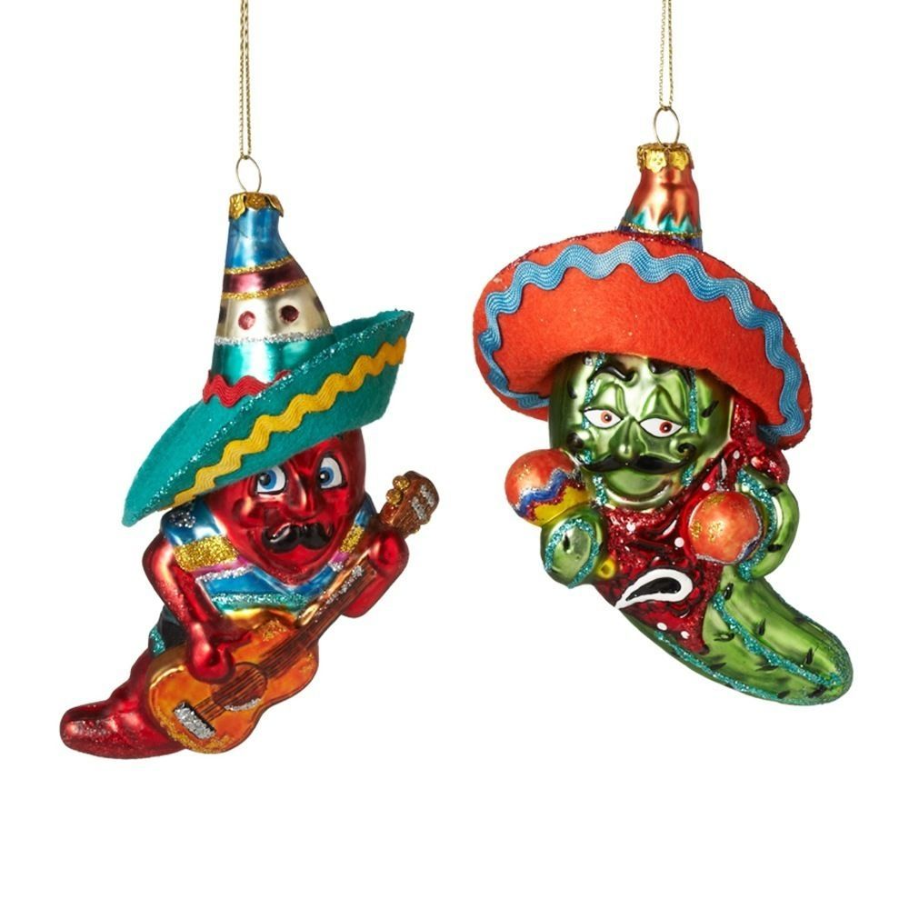 2017 Chili Mexican Dance Set Of 2 Christmas Tree Ornament