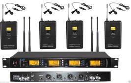 Pro 4 Channel True Diversity Wireless 4 Lavalier Tie Lapel Mic Microphon... - $352.70
