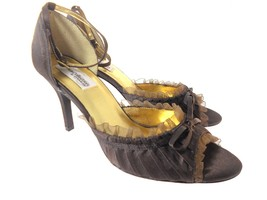DYEABLES FRILLY CHOCOLATE BROWN SATIN SHOES WOMEN'S SIZE 9 - $39.99