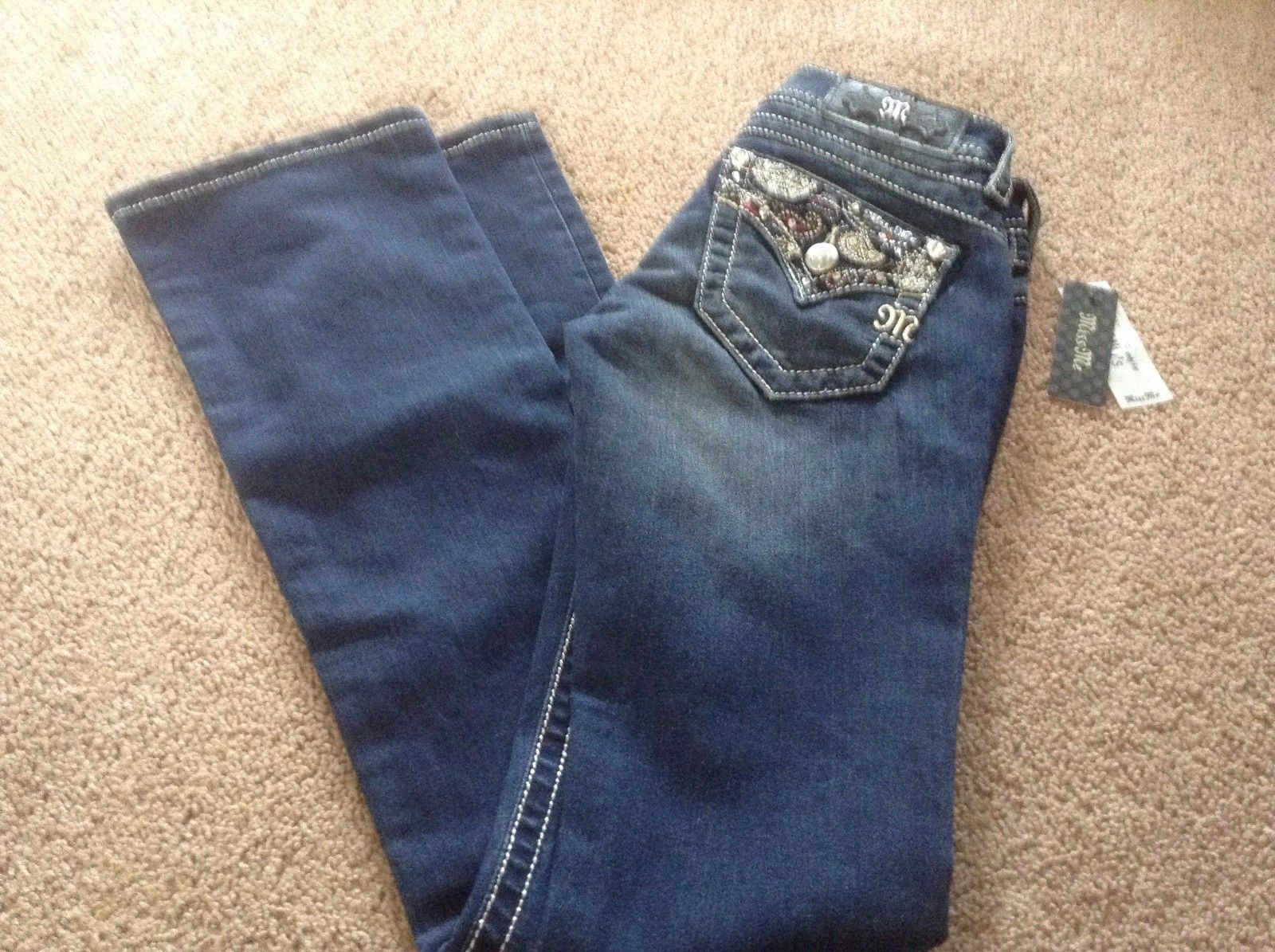 MISS ME Jeans Size 24 Signature Boot Cut Paisley Pockets JY9041B NWT new macys