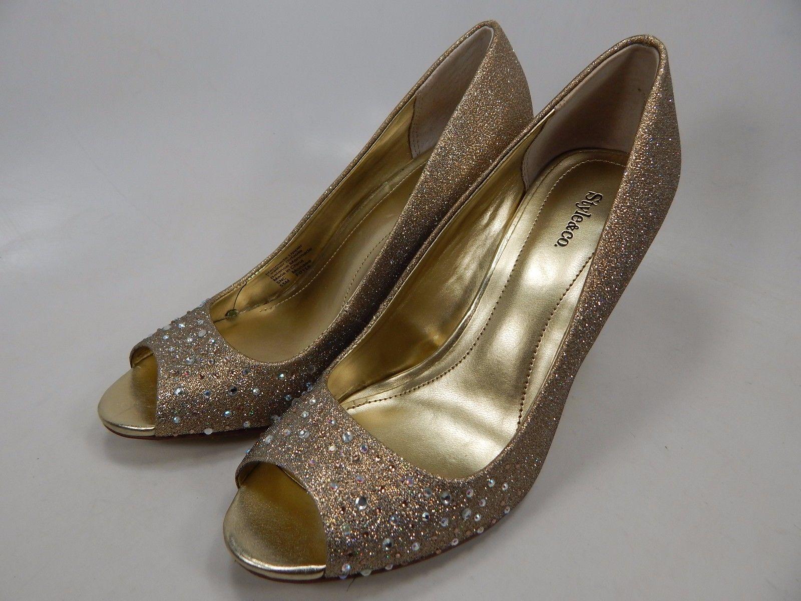 Style & Co Monaee Peep Toe High Heels Pumps Women's Size US 5.5 Gold $65