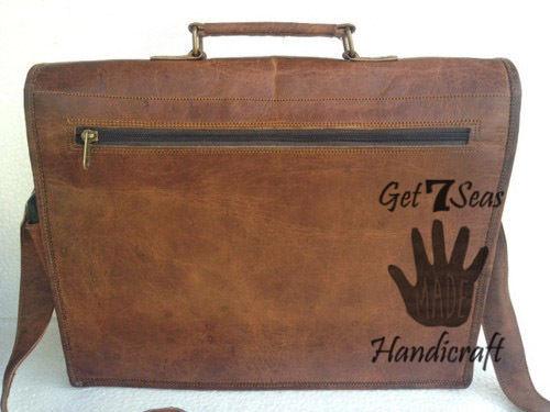 Leather satchel bag for men women vintage shoulder laptop mens briefcase bags image 3