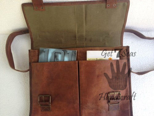 Leather satchel bag for men women vintage shoulder laptop mens briefcase bags image 4