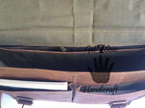 Leather satchel bag for men women vintage shoulder laptop mens briefcase bags image 5