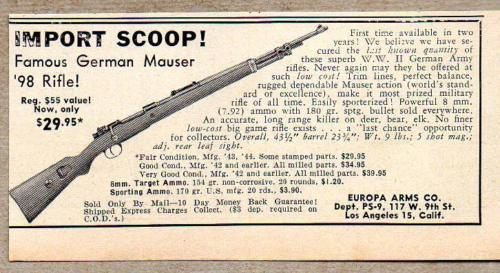 1955 Print Ad German Mauser `98 Bolt Action Rifles Europa Arms Los Angeles,CA