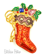 Christopher Radko Christmas Stocking Brooch with Rhinestones and Holly - $24.00