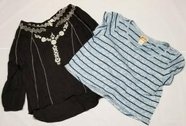 Lot Of 2 MUDD Juniors Women Large Long Short Sleeve Shirts Black Blue St... - £6.89 GBP
