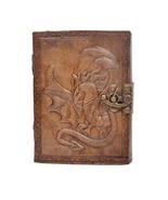 Leather Journal Antique Dragon Embossed Charcoal Color Handmade Notebook... - $26.89