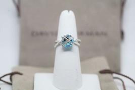 David Yurman Sterling Silver Cable Wrap Ring Blue Topaz Diamonds Size 6 - $246.51