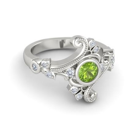 Classic Leaf Peridot, White Diamond Womens Anniversary Ring Solid 10k White Gold