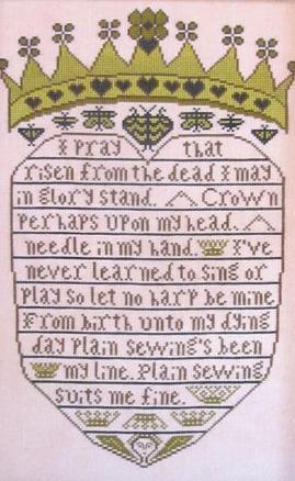 Crowned Heart cross stitch chart Kathy Barrick Designs