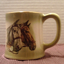 Vintage Ceramic QUARTER HORSES Mug // Decorative EQUESTRIAN Coffee Cup - $7.50