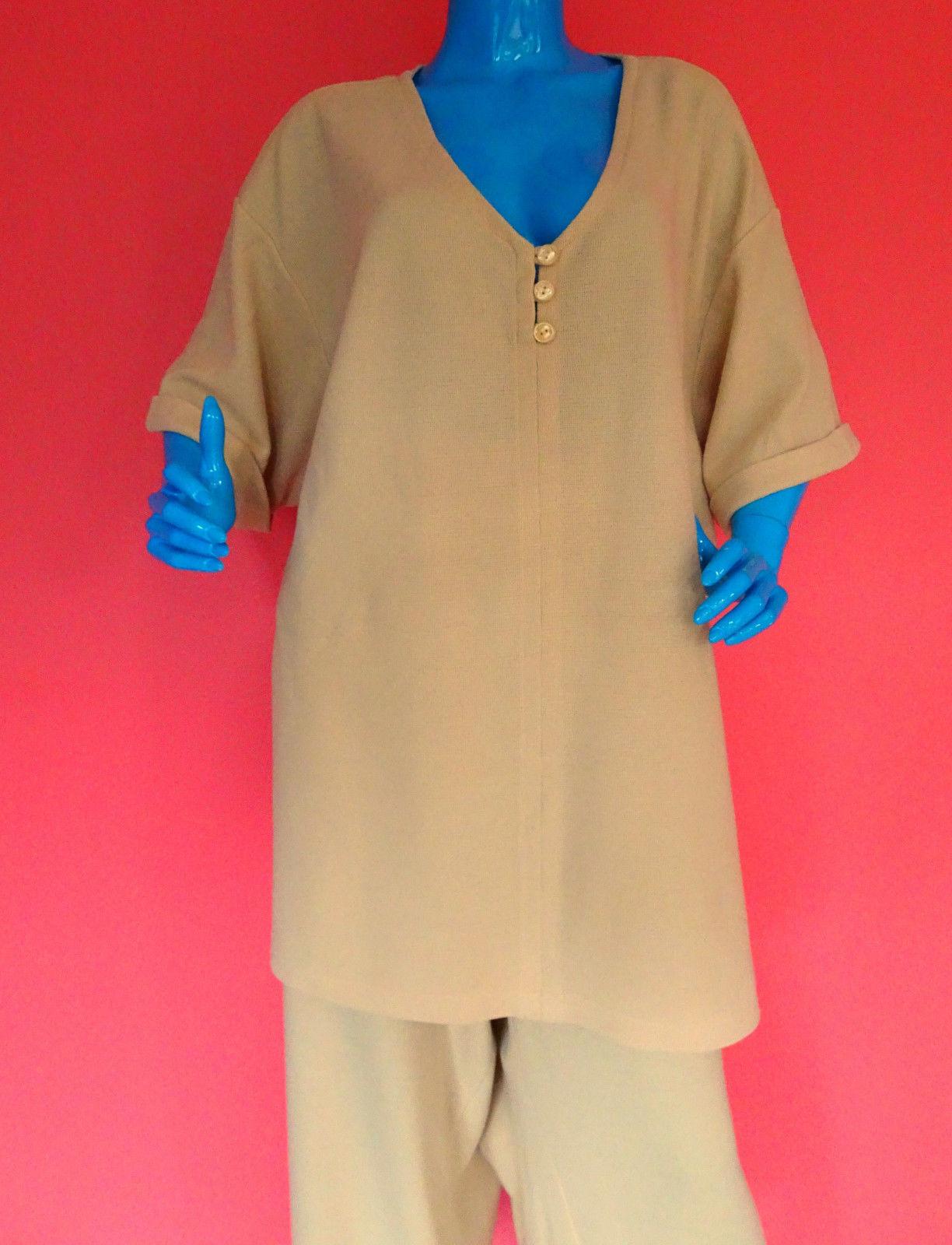 Avenue 2 Piece Casual Pants Tunic Set Outfit 30/32 4X 5X Plus Size Yellow Knit