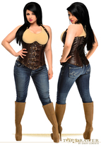 Chocolate Brown Faux Leather Underbust Steel Boned  Corset