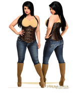Chocolate Brown Faux Leather Underbust Steel Boned  Corset  - $165.00