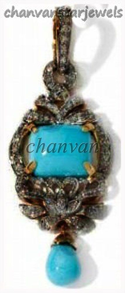 Primary image for Vintage/Antique Inspired Rose Cut Diamond 92.5% Silver Turquoise Pendant @Ebay62
