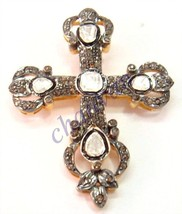 Cross Vintage/Antique Insp 2.11C Rose Cut/Polki Diamond 925  Silver Pend... - $266.69