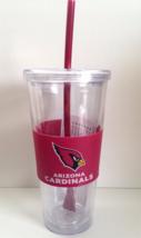 NFL Arizona Cardinals 22 oz Clear Acrylic Travel Tumbler Cup w/Neoprene ... - $16.95
