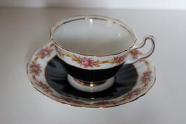 Adderley Lawley Black &  Rose Bone China Coffee Cup w/  Saucer - $13.09