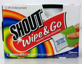 Shout Wipe & Go Instant Stain Remover Wipes 12 ... - $5.94