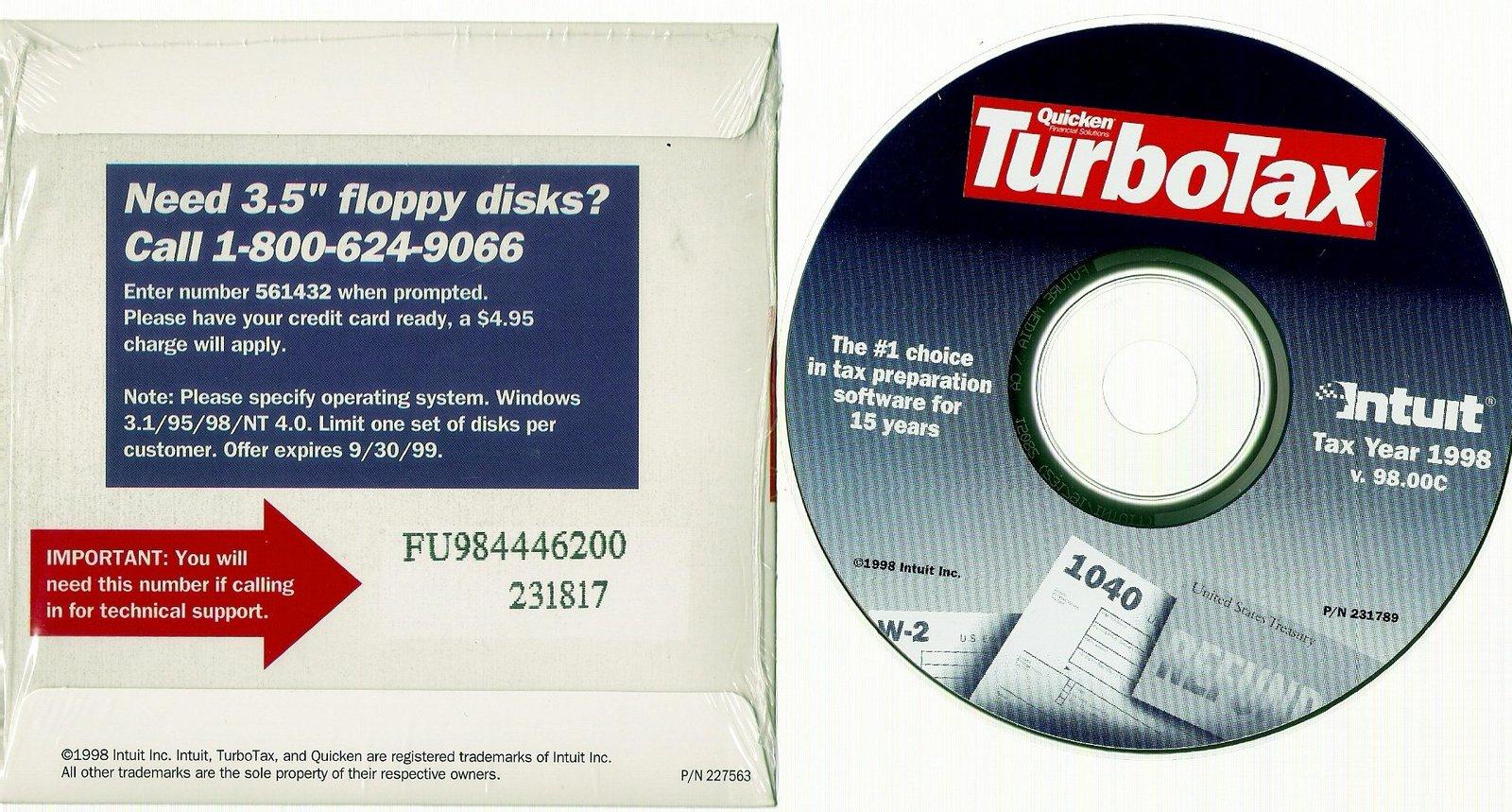 Quicken TurboTax {Federal Return Tax Year 1998} [CD]