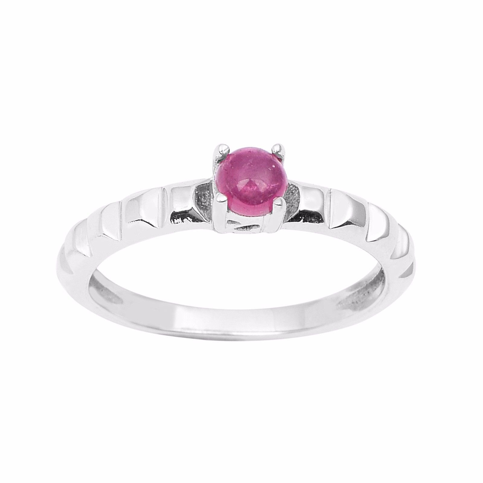 Solid 925 Sterling Mini Pink Tourmaline Gemstone Silver Ring Sz 6 SHRI0932