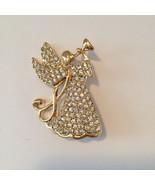 MONET Trumpeting Christmas Angel Goldtone Rhinestone Stunning Pin Origin... - $23.22