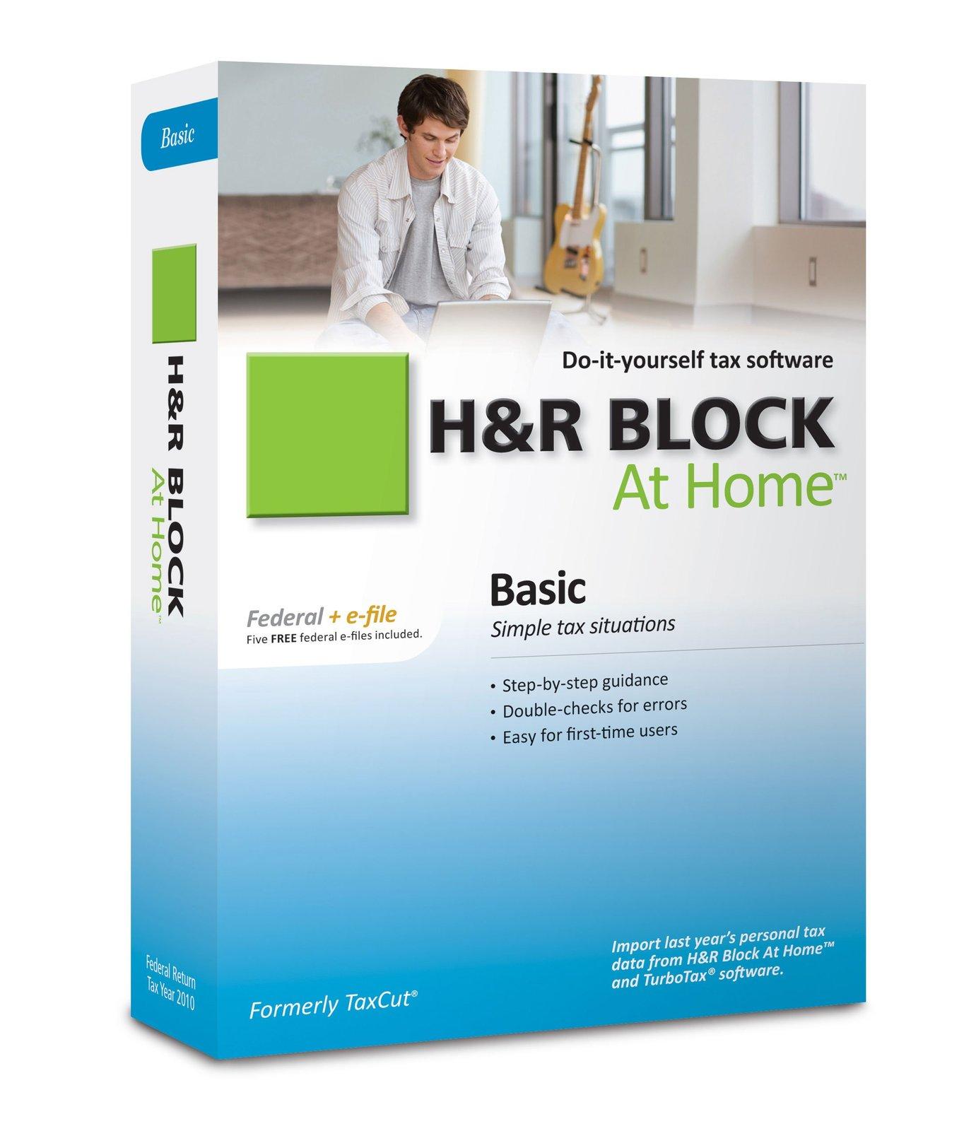 H&R Block At Home 2010 Basic Federal + eFile [CD-ROM] Windows 7 / Windows Vis...