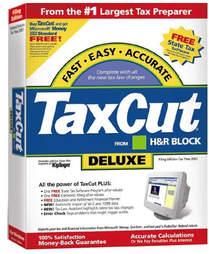 TaxCut from H&R Block 2001 Deluxe Filing Edition [CD-ROM] Windows 98 / Window...