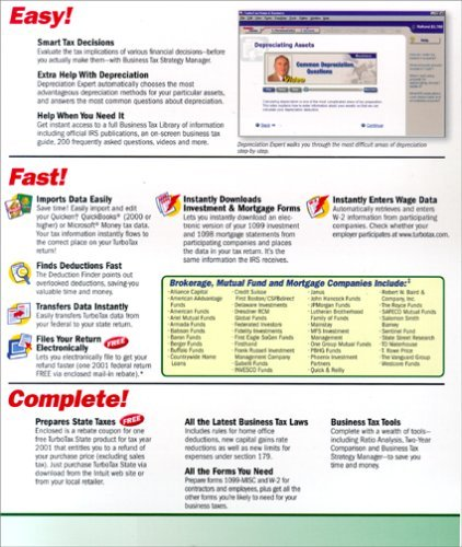 TurboTax 2001 Home & Business [CD-ROM] Windows 98 / Windows 2000 / Windows Me...