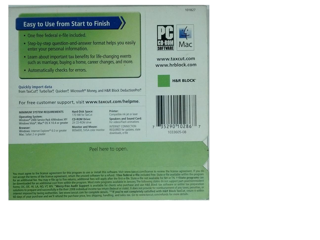 H & R Block TaxCut for Tax Year 2008 Standard [CD-ROM] Mac OS X / Windows XP ...
