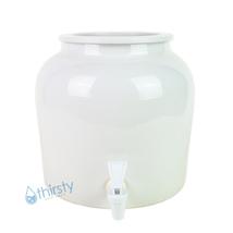 Water Crock Pot Plain White Porcelain Ceramic Vase Dispenser Faucet Valv... - $37.38