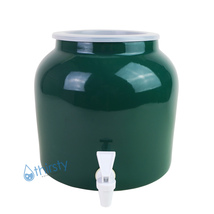 Water Crock Solid GREEN Ceramic Porcelain Dispenser Faucet Drinking Aqua... - $37.38