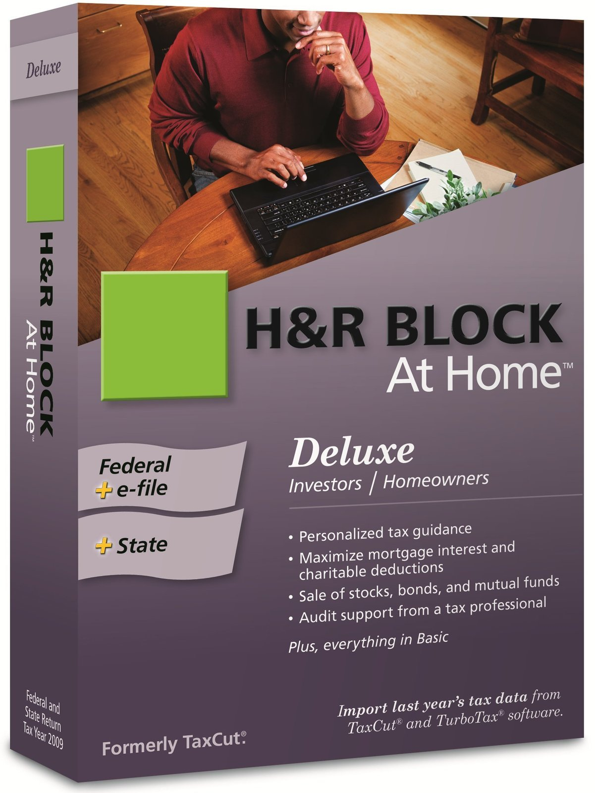 H&R Block At Home 2009 Deluxe Federal + State + eFile [OLD VERSION] [CD-ROM] ...