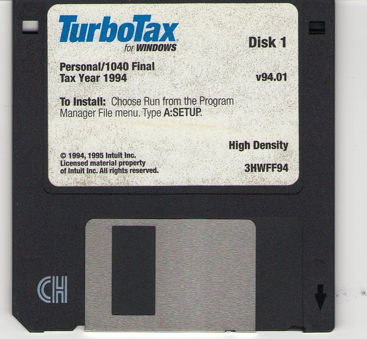 Turbotax for Windows 1994 (Personal) [CD-ROM] Windows 3.x