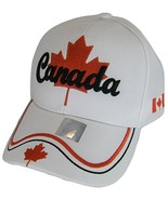 Canada Men's Maple Leaf & Flag Adjustable Baseball Cap (White) - $11.95