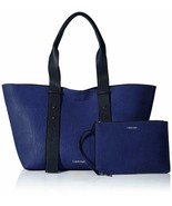 Calvin Klein Jane Belted East/West Large Tote W/ Pouch, Retro Blue $188 - $73.12