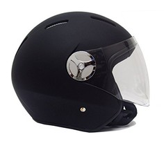 Helmet Motorcycle Scooter PILOT Open Face DOT Rubber Finish Black LARGE - $51.43