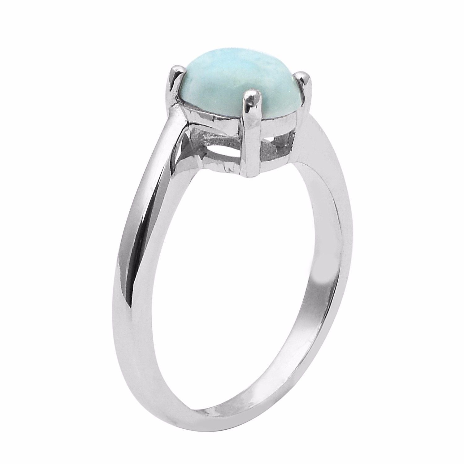 2.10 Carat Oval Shape Gemstone Sterling Larimar Gemstone Ring Sz 8 SHRI0949