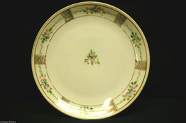 Hand Painted China Bread & Butter Plate by Nippon w Flower Pattern & Gold Trim - $9.89
