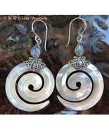 Sterling Silver Spiral Shell & Rainbow Moonstone Earrings ER-780-DG - $19.99
