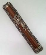 "6"" Pewter cherry wood color mezuzah case w/ amazing Jerusalem background... - £14.89 GBP"