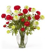 Nearly Natural 1087-RW Ranunculus Liquid Illusion Silk Flower Arrangement, - £70.89 GBP
