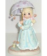Precious Moments Let Love Reign Girl Umbrella Heart Raindrops  2002 8905... - $59.95