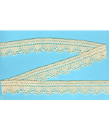 Ecru Cotton Scallop-Edged Crochet-Look Inch Wid... - $7.50