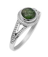 0.86 Ct Solid Green Tourmaline Gemstone 925 Sterling Silver Ring Sz Q SH... - $14.65