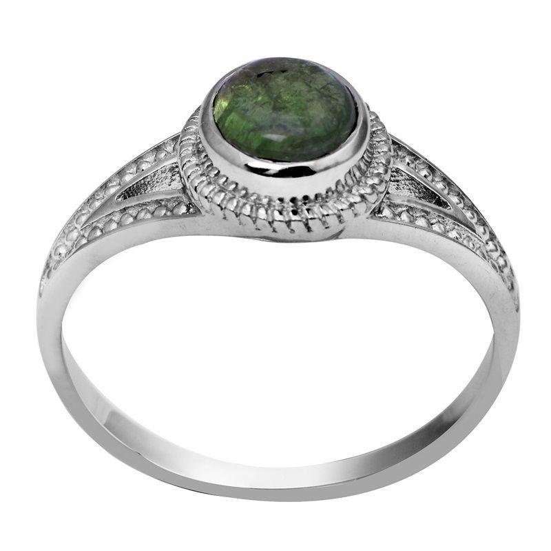 0.86 Ct Solid Green Tourmaline Gemstone 925 Sterling Silver Ring Sz Q SHRI0716