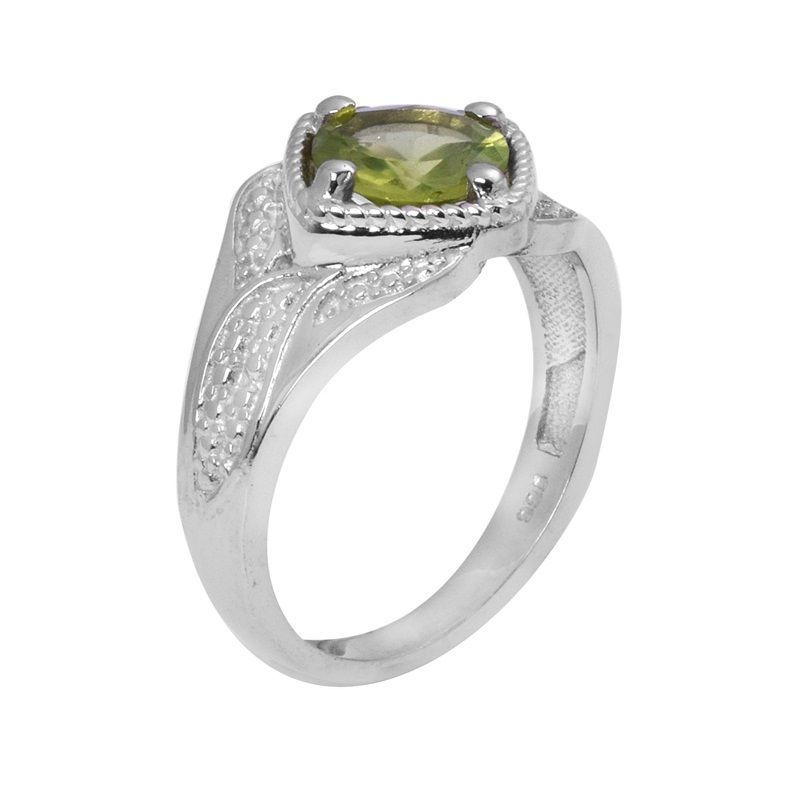 Newest Collection 1.30 Ct Peridot Gemstone 925 Sterling SilverRing Sz L SHPN0710