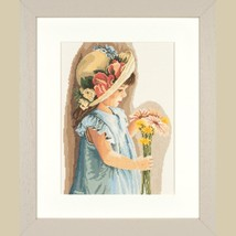 Set cross stitch company Lanarte 35122 Girl with the flowered hat size 2... - $44.00