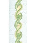 Wide Cream Green Swirly Venetian Style Lace Tri... - $5.00